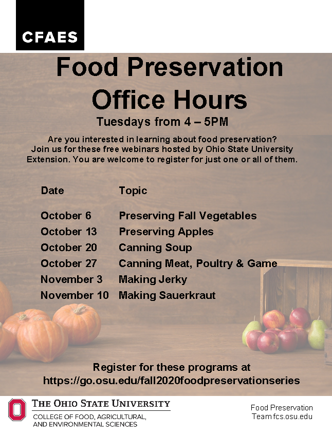 Food preservation schedule
